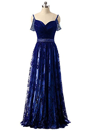 A-line Spaghetti Strap Evening Gown (Hatail Spaghetti Strap Lace Prom Dress Long A Line Beaded Evening Gown for Women)