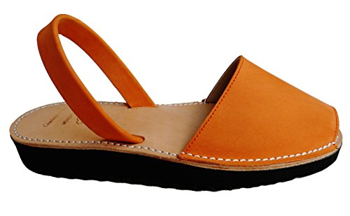 MENORQUINAS Avarcas menorcan Sandalen mit Ferse / Keil 2,5 cm, verschiedene Farben, Sandalen, Clogs �?Naranja nobuck