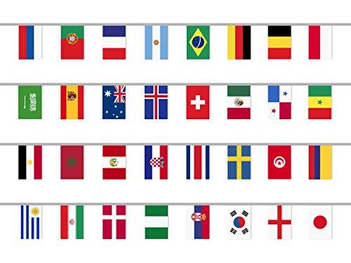 Coolchange International Fahnenkette Mit 32 Lander Flaggen Girlande 12m Lange Flaggengrosse 27 5x20cm Mit Ausgewiesener Deutschen Mwst