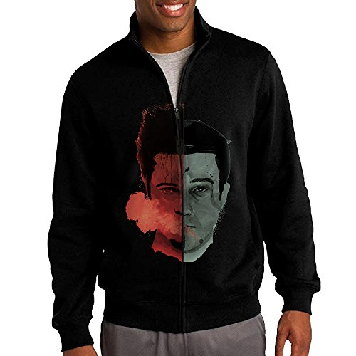 ILKU Men's Fight Club Zip-Front Hoodies Jackets Black Size XXL - Baseball Furies Costume Xxl