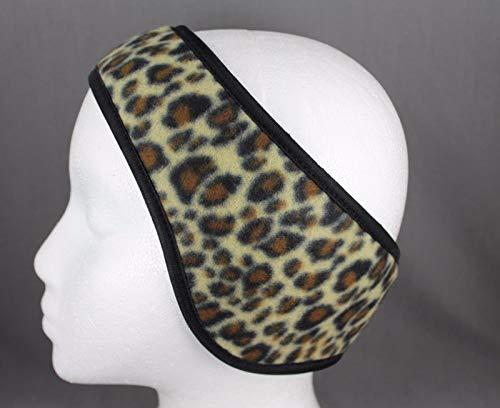 Reversible Cheetah - Brown Black cheetah reversible fleece ear muffs head wrap warmers ski adjustable