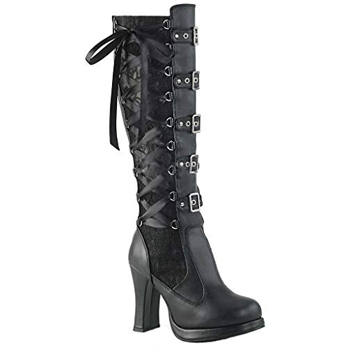 Silly Halloween Food Names (Aniywn Halloween Women Boots Lace Up Buckle Knee High Combat Boots Chunky Heel High Riding)