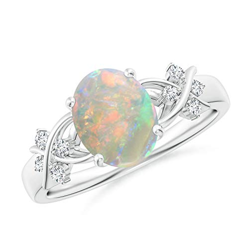 Solitaire Oval Opal Criss Cross Ring with Diamonds in Platinum (9x7mm Opal)