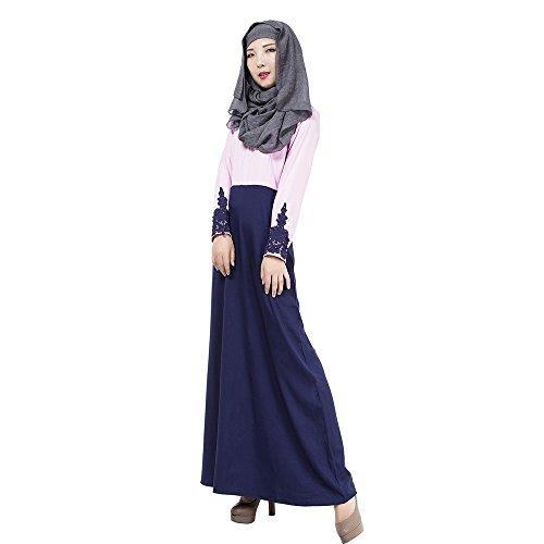 Manga Color Empalme Morado Túnica Vestido Largos Musulmán 4 Larga BOZEVON Caftán de Elegante Colores Mujeres Vestidos Árabe de IqwnxEv4z
