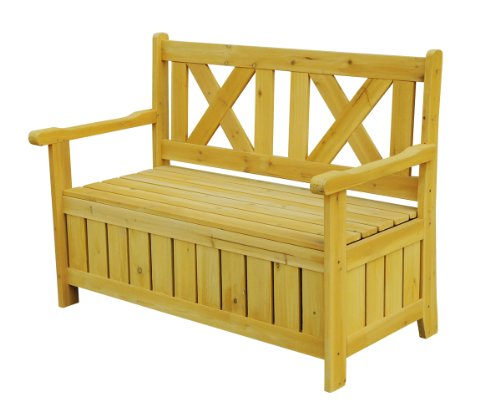 outdoor wood storage bench - 2