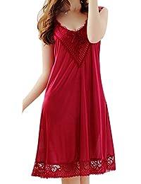 URqueen Women's Silky Lace Lingerie Babydoll Sleepwear Dress Pajamas