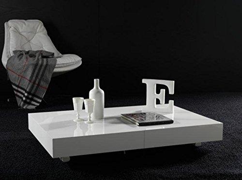 Ideapiu Idea - Mesas, mesas, consolas transformables, mesa elevable, transformable en mesa de comedor, acabado blanco poro abierto