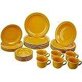 1 Aparelho de Jantar e Chá 30 Peças Oxford Daily Floreal Yellow Amarelo
