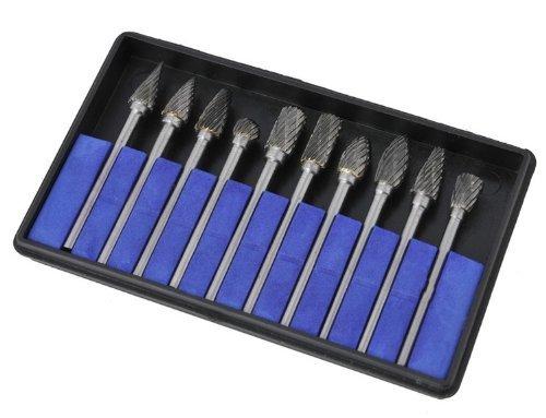 10 Pieces Tungsten Carbide Rotary Burr SET 1/8 Shank/double Cut Carbide Rotary Burr Set with 3mm Shank/tungsten Carbide Single Cut Rotary Burr SET 1/8 Shank Fit Dremel, Model: L992
