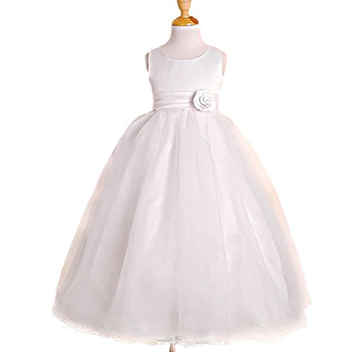 DRESSY DAISY Girls' Empire Waist Wedding Flower Girl Dresses Pageant Party Dress Size 3T White