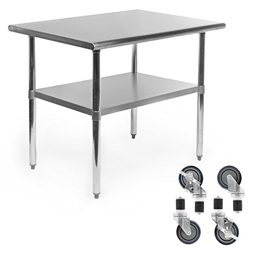 Gridmann NSF Stainless Steel Commercial Kitchen Prep & Work Table w/ 4 Casters (Wheels) - 36 in. x 24 in.