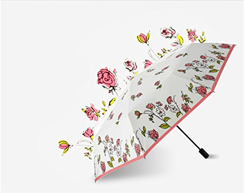 Automatic Folding Umbrella Red Cherry Rose flower-Give you a wave of sweet dating (Rose)