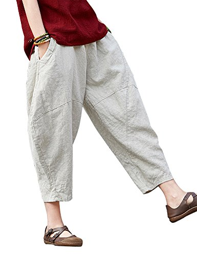 Flax Linen Pants (IDEALSANXUN Women's Cotton Linen Retro Baggy Bloomer Elastic Waist Long Yoga Pants (Medium, 3-Beige Ninth Pants))