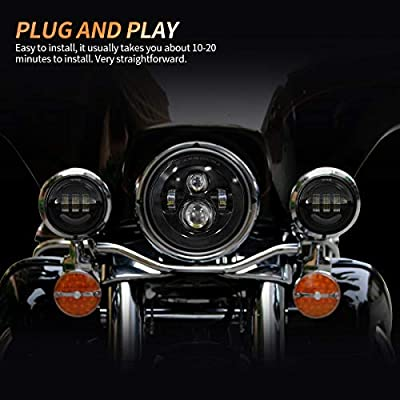 7 Inch Round LED Headlight Bulb kit With 4.5 Inch Passing Lamps Fog Lights Mounting Ring For Street Glide Ultra Classic Road King Electra Glide Heritage Softail Slim Deluxe Fatboy Tri CVO Black: Automotive