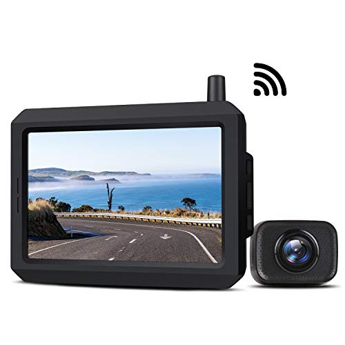 5 Inch Wireless Backup Camera Kit with Digital Signal, Waterproof Rear View Camera with 5″ TFT-LCD Monitor, Ideal for Sedans, Pickup Truck, SUV, Minivans (BOSCAM K7)