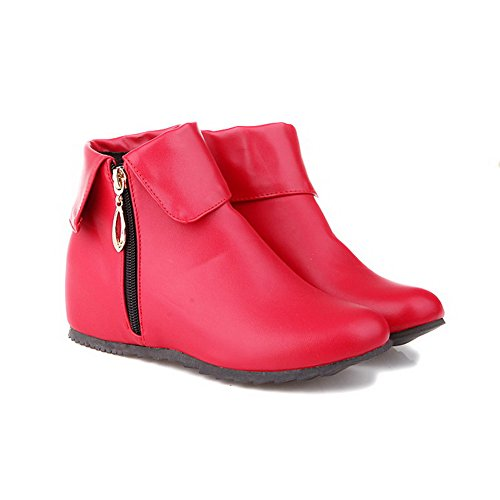 rot Zehenstiefel Low Material Frauen AgooLar weiches geschlossene Heels Reißverschluss runde Kitten Top FP5qw