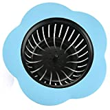 Sinwo Drain Hair Stopper Cover Filter Sink Strainer Silicone Bathroom Kitchen Shower Use (Blue)