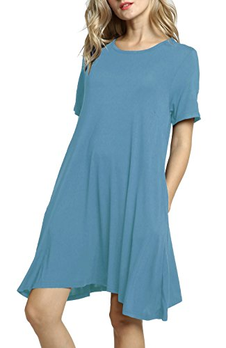 Afibi Women's Short Sleeve Loose Pockets Dress Casual Swing T-Shirt Dresses (Large, Tiffany Blue) -