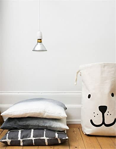 Cuteboom Canvas Laundry Bag Household Drawstring Organizers Space Saver Container Storage Sorting Bags (Smiling Dog)