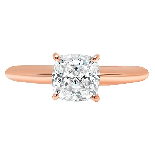 2.5ct Cushion Brilliant Cut Classic Solitaire Designer Wedding Bridal Statement Anniversary Engagement Promise Ring Solid 14k Rose Gold, 10.25 by Clara Pucci