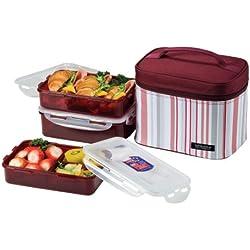 LOCK & LOCK Rectangular Lunch Box 3-Piece Set with Insulated Burgundy Stripe Bag