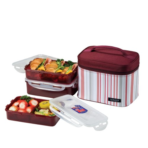 LOCK & LOCK Rectangular Lunch Box 3-Piece Set with Insulated Burgundy Stripe Bag