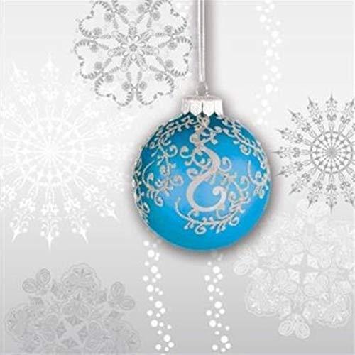 hersrfv home Jingle Bells Blue Bulb Beverage Napkins 18 Pack Christmas Winter Decoration