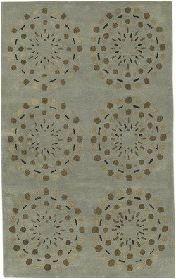 Surya Bombay BST-428 Contemporary Hand Tufted 100% New Zealand Wool Foggy Blue 2'6'' x 8' Geometric Runner by Surya