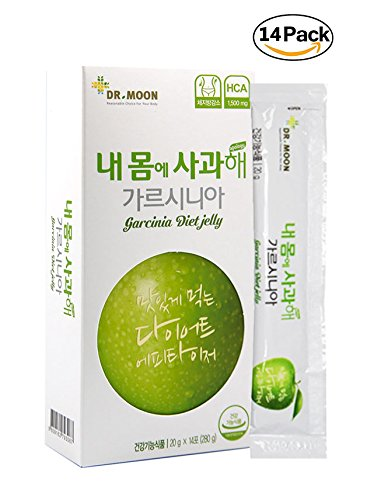 [Dr. MOON] GARCINIA DIET JELLY (20g x 14 packets) – A Healthy Diet, Natural Weight Loss Diet Supplement, Fast Acting Appetite Suppressant, Garcinia Cambogia, Wild Mango, Green Apple by Dr.MOON