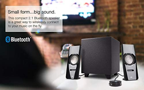 CA-SP26BT Tablet Includes Bluetooth Connectivity Cyber Acoustics 2.1 Stereo Speaker System with Subwoofer Computer and Home Audio Set for PC Smartphone and Gaming Sound System