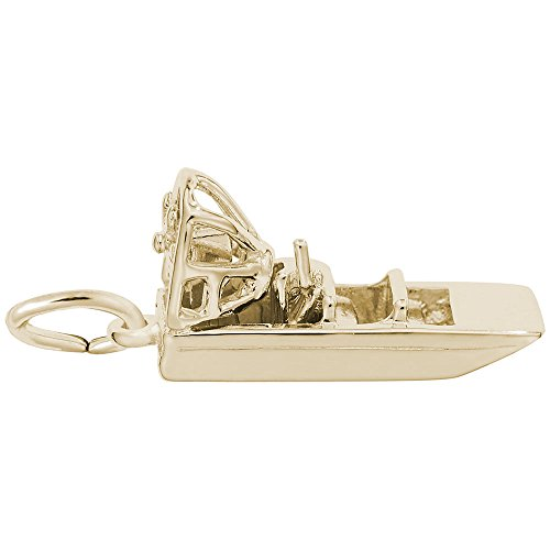 Air Boat Charm In 14k Yellow Gold, Charms for Bracelets and Necklaces