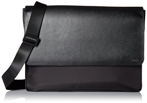 Calvin Klein Men's Nylon/Saffiano Messenger, Black, One Size