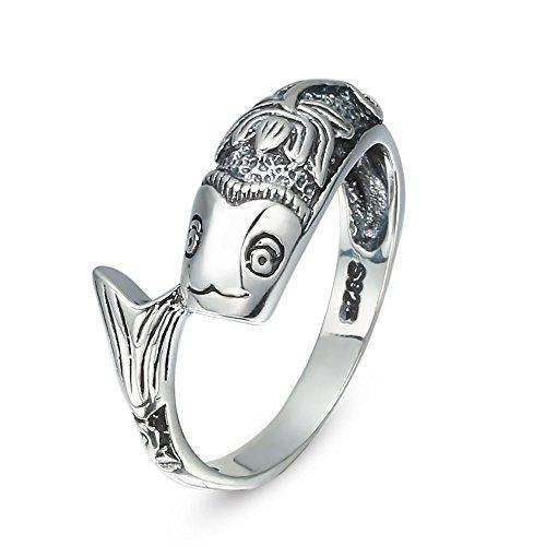 Goldfish Halloween Costumes Homemade (F&F Ring Lotus Goldfish Shape Design 925 Sterling Silver Rings For Women Wedding Engagement Rings (7))