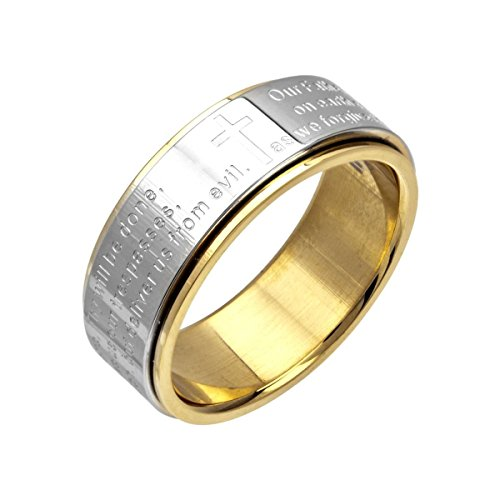 Inox Jewelry Womens Stainless Steel Lord's Prayer Spinner Ring (Size 6)