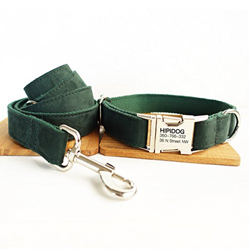 Personalized Dog Collar and Leash Set, Premium Customized Pet ID Collars - Available 13 Colors + 5 Sizes