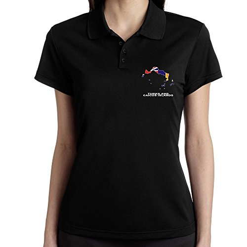 Teeburon Turks And Caicos Islands Country Map Color Polo Donna