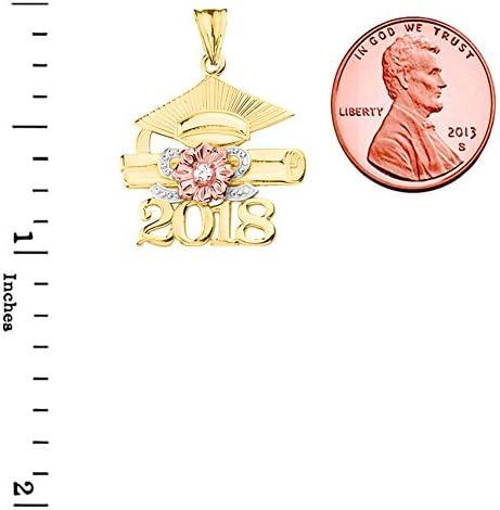 Dazzling 10k Tri-Tone Yellow Gold Diamond Class of 2018 Graduation Charm Pendant