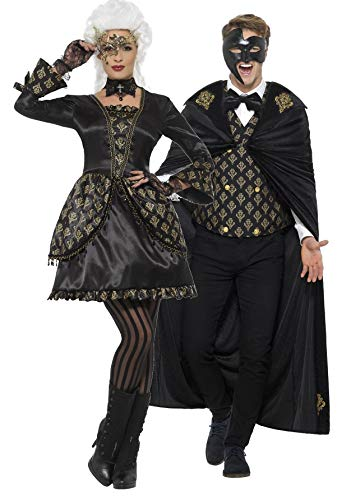 Couples Ladies & Mens Deluxe Black & Gold Masquerade Phantom Halloween Carnival Fancy Dress Costume Outfits (Ladies UK 16-18 & Mens Medium) for $<!--$75.94-->