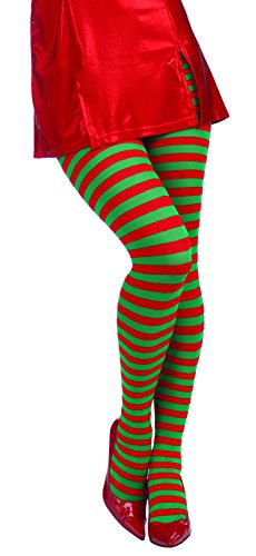 [Forum Novelties Women's Adult Christmas Striped Tights, Red/Green, One Size] (Adult Costumes)