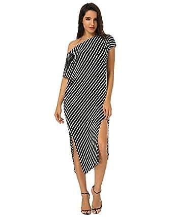 ZANZEA Womens Round Neck Striped Irregular Long Maxi Dress Kaftan Dress Cover Up Black S