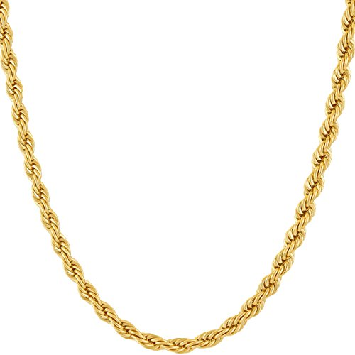 Lifetime Jewelry 4MM Rope Chain, 24K Gold with Inlaid Bronze, Premium Fashion Jewelry, Pendant Necklace Made Thin for Charms, Guaranteed for Life, 16 to 30 Inches ()