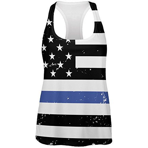 Blue Sweatshirt Top (4th of July Distressed Thin Blue Line American Flag All Over Womens Work Out Tank Top Multi LG)