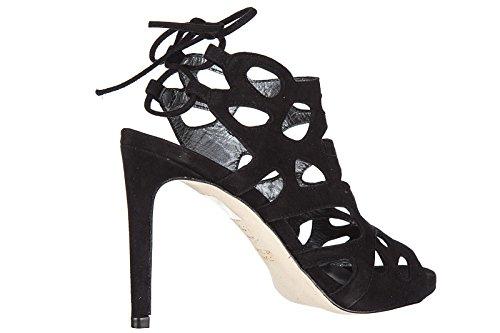 Stuart Weitzman sandalias de tacón mujer en ante nuevo negro