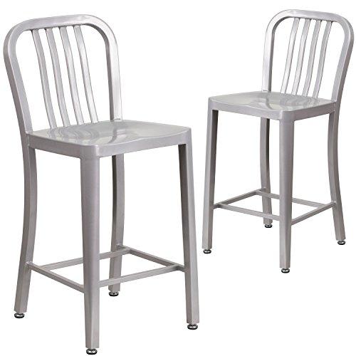 Buy flash furniture silver metal indoor-outdoor chair