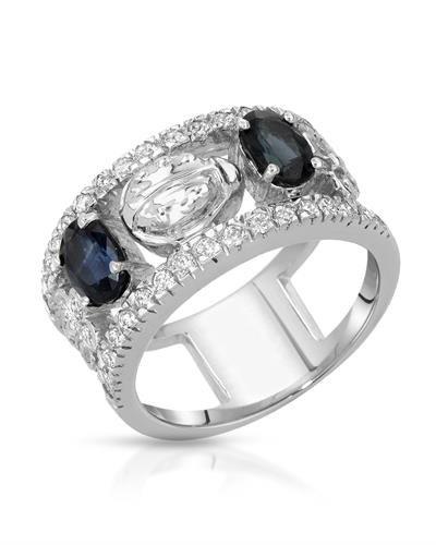 18K White Gold Sapphire & Round Diamond Ring