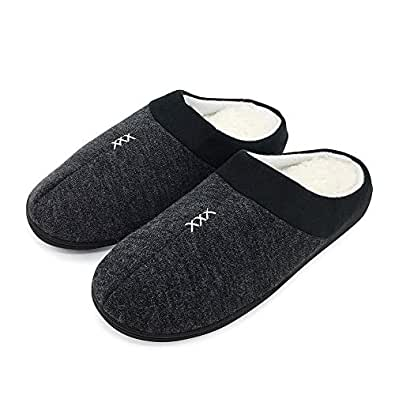 FUNKYMONKEY Men's Winter Warm Slippers Cashmere Upper Berber Fleece Lined Anti-Skid Comfort House Shoes Black Size: 8