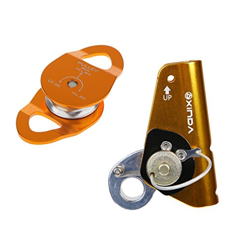 MagiDeal Safety Outdoor Rock Climbing Mountaineering 22KN Rope Grab Ascender with 36KN Rope Mobile Pulley