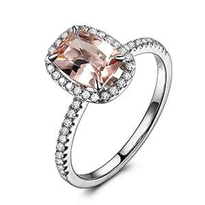 Cushion Morganite Engagement Ring Pave Diamond Wedding 14K White Gold 6x8mm,Claw Prongs
