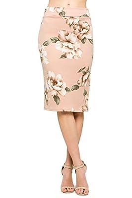 HerShe Women's Comfort Stretch Pencil Midi Skirt