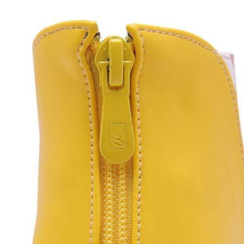 Da Zipper In Thin Yellow Pointed High Donna Pelle Back Women Warm Con Boots Winter Fashion Ricamo Heel Ankle Stivali Stiletto Toe women's Elegant dq8wEd